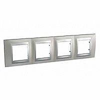 Рамка Schneider-Electric Unica Top 4-поста никель/алюминий. MGU66.008.039