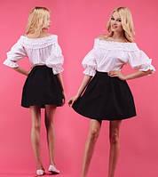 Платье белый верх + черный низ  До середины бедра, Три четверти, 46, Весна/осень, Классический, Батист, Приталенное, черное