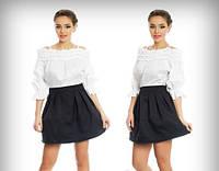 Платье белый верх + черный низ