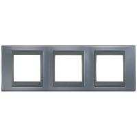 Рамка Schneider-Electric Unica Top 3-поста металлик/графит. MGU66.006.297