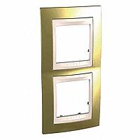 Рамка Schneider-Electric Unica Top 2-поста вертикал. золото/слоновая кость. MGU66.004V.504