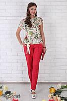 Льняные брюки Dakota под живот (красный), фото 1