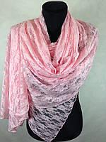 Розовый гипюровый палантин на голову №2908 (цв.10)