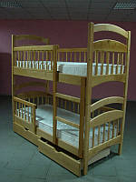 Двухъярусная кровать Карина Люкс усиленная + ящики + матрасы ЭКО-42 (цвет яблоня)