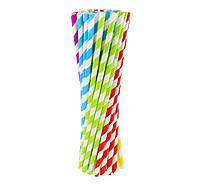 Трубочка для напитков полосатые картонная