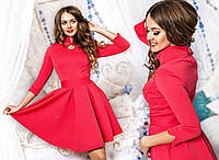 Трикотажное розовое платье юбка клёш Арт.-5083/43