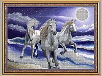 """Схема для часткової вишивки бісером """"Прибій"""", коні"""