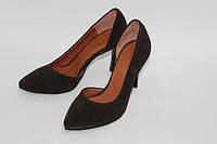 Женские  туфли лодочки с вырезом, натуральный замш, фото 1