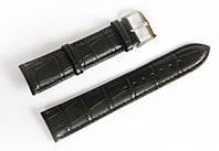 Ремінець шкіряний Italian Classic для наручних годинників, чорний, 22 мм