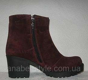 Ботинки стильные женские демисезонные замшевые бордовые Код 146 ПС, фото 2