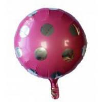 Шарик  фольгированный круглый розовый  в горошек