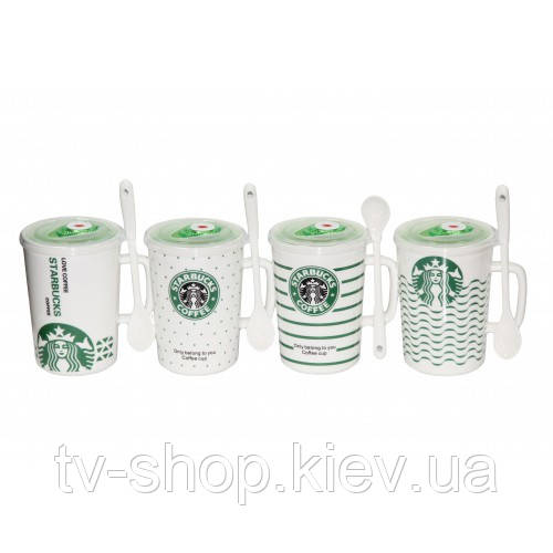 Кружка с вакуумной крышкой и ложкой Starbucks