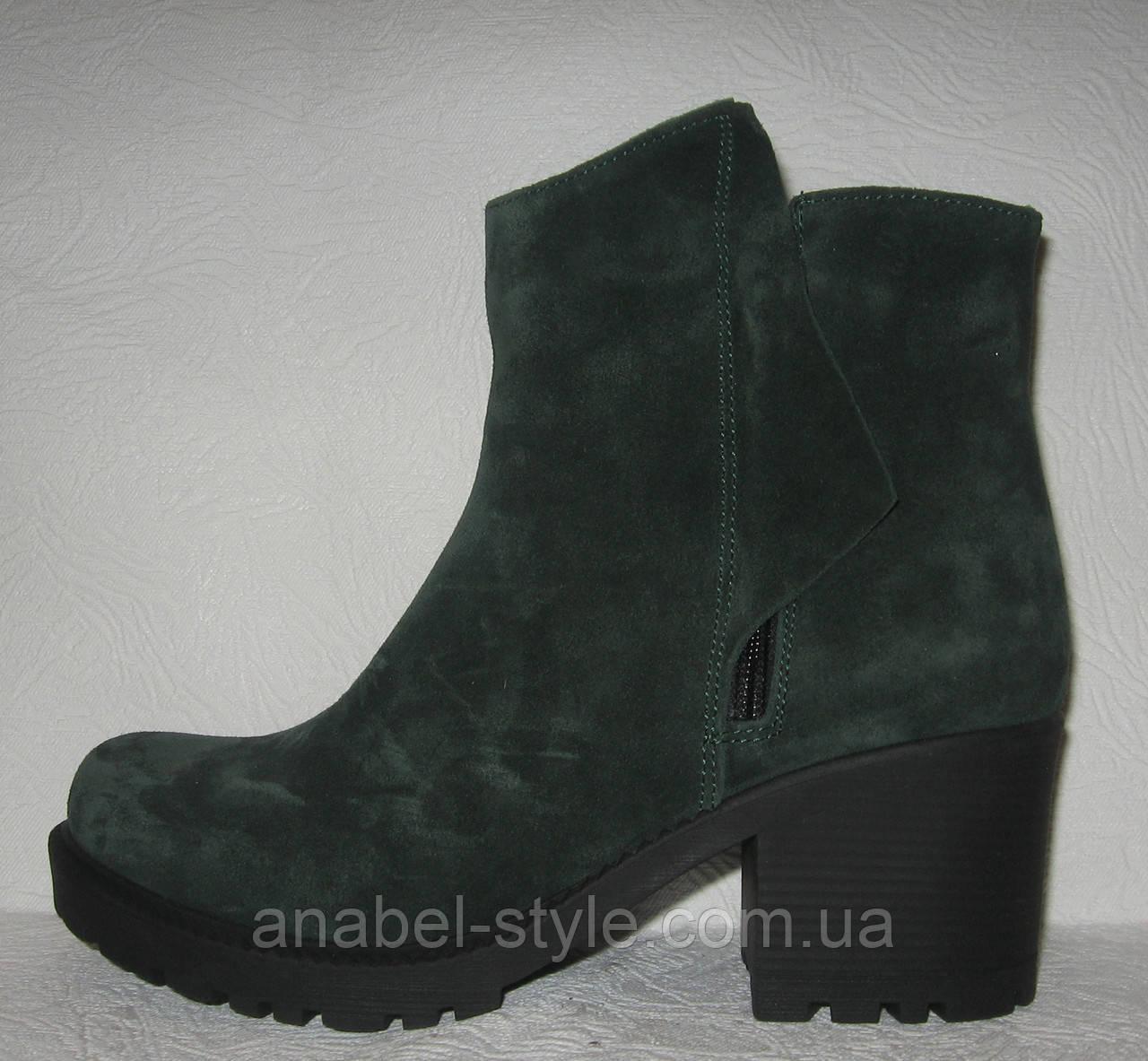 Ботинки женские стильные на каблуке натуральная замша зелёного цвета Код 151 ПС