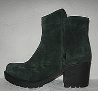 Ботинки женские стильные на каблуке натуральная замша