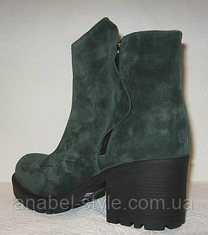 Ботинки женские стильные на каблуке натуральная замша зелёного цвета Код 151 ПС, фото 2