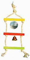 ЛОРИ Игрушка для птиц подвеска тройная с зеркальцем и звоночком, сизаль