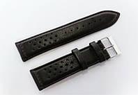 Ремешок кожаный Italian Classic для наручных часов, черный с перфорацией, 24 мм