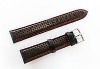 Ремешок кожаный Italian Classic для наручных часов, черный с красной перфорацией, 20 мм