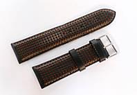 Ремешок кожаный Italian Classic для наручных часов, черный с красной перфорацией, 24 мм