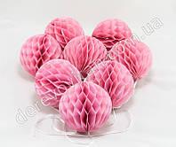 Гирлянда из шаров-сот, розовая, d10 см