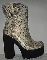 Полусапожки женские натуральная кожа на высоком толстом  каблуке