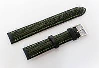 Ремешок кожаный Italian Classic для наручных часов, черный с салатовой перфорацией, 18 мм