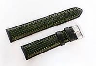 Ремешок кожаный Italian Classic для наручных часов, черный с салатовой перфорацией, 22 мм