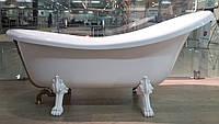 Ванна на львиных лапах из композита Fancy Marble. Бронзовый сифон