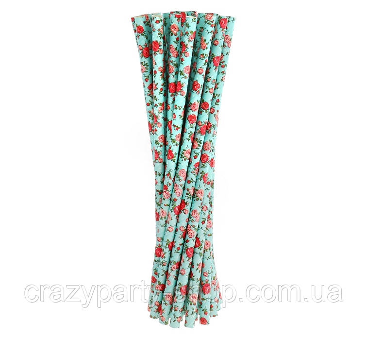 Трубочка для напитков картонная бирюза в цветочки