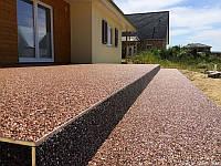 Террасное покрытие в Украине , каменный ковер из мраморной крошки или кварцевого песка