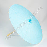 Китайский зонтик из бумаги, светло-голубой, d38 см