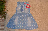 Летнее джинсовое  платье для девочек 1-5 лет