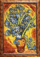 Картина из янтаря Ваза с ирисами (Картины и иконы из янтаря)