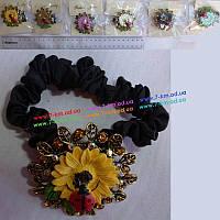 Резинки с брошкой BigU3745 текстиль 1 шт