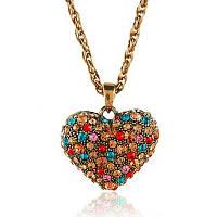 Подвеска на цепочке кулон Сердце с камнями