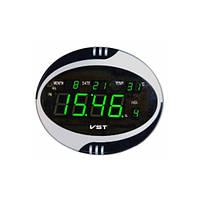 Часы сетевые настенные говорящие 770 Т-4 салатовые, пульт Д/У