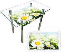 """Стеклянный кухонный стол с печатью """"Ромашка"""""""