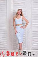 Костюм женский джинс стрейч топ и юбка - Белый