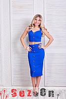 Костюм женский джинс стрейч топ и юбка - Синий