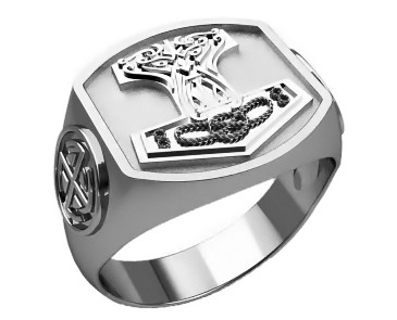 Кольцо серебряное Молот Тора 303 42