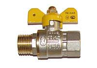 ТК-ГАЗ Г/Г «бабочка». Латунный шаровой кран для газа (семь витков резьбы)