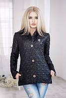 Универсальная женская куртка на пуговицах с брошью рукав длинный плащевка на синтепоне