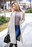 Элегантное кашемировое женское пальто длины миди под пояс с накладными карманами с разрезами по бокам