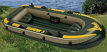 Лодка Intex 68349 3-х местная+(весла алюминний) +насос