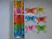 Большой набор декоративных бабочек из перьев на магните (1 комплект-24шт).