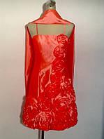 Платье женское летнее нарядное на бретелях с шарфом коралловое яркое стильное модное современное