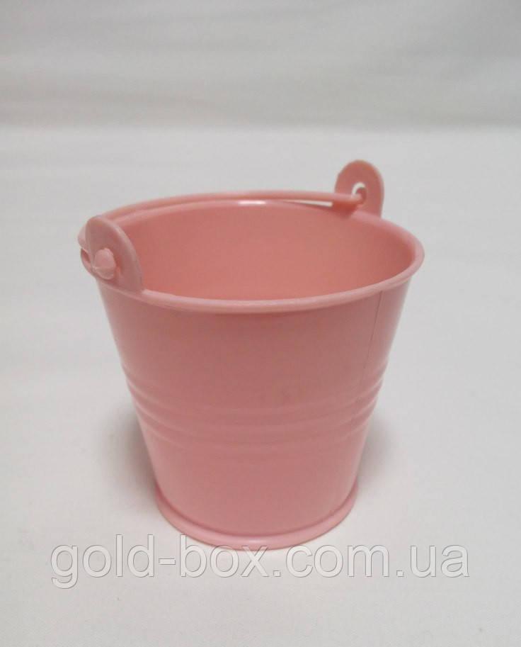 Декоративное ведерко нежно розовое 5,5х5х4