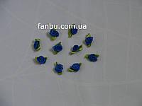 Маленькая тканевая розочка синяя 1.3см*2см(1 упаковка 10розочек)