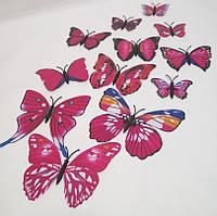 Декоративные бабочки на магните и липучке 12шт розовые
