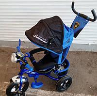 Велосипед детский трехколесный Синий Lamborghini c фарой WS-610F